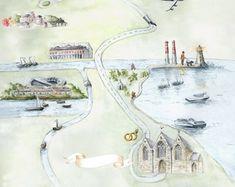 Custom bespoke maps by Appleberry Atelier Illustrated Maps, Crests, Monograms, Wedding Stationery, Bespoke, Illustrators, Cool Designs, Etsy Seller, Atelier