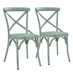 Greyleigh Windcrest Metal Cross Back Side Chair Green Dining Room, Metal Dining Chairs, Bistro Chairs, Kitchen Chairs, Dining Chair Set, Side Chairs, Outdoor Chairs, Dining Tables, Old Kitchen