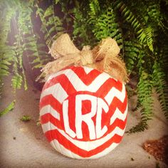 DIY chevron monogram painted pumpkin with burlap bow!