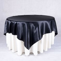 Black 90 x 90 Inch Satin Table Overlays