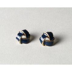 Vintage Gold & Navy Blue Enamel Knot Stud Earrings