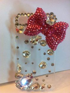 Handmade iphone 4/4s case decorated with a large pink blinged out bow and large & small crystals by GlitterLovers, $24.00