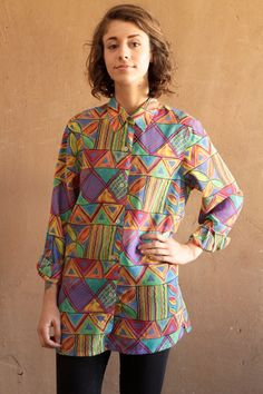 mid 90s SURF abstract SUMMER sheer button up shirt by ZiaVintage