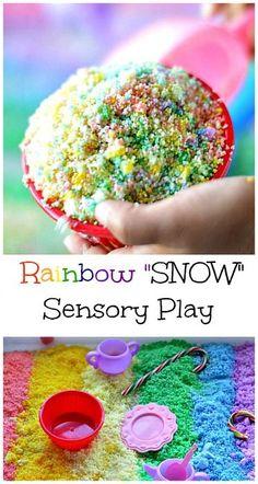 "Rainbow ""Snow"" Sensory Bin #preschool #winter"