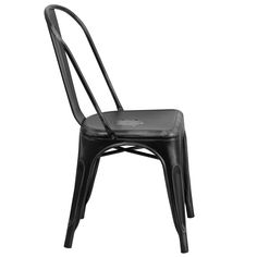 Stackable Bistro Style Chair, Stacks up to 8 Chairs High, Curved Back with Vertical Slat, Drain Holes in Seat, Distressed Black Powder Coat Finish, Cross Brace under seat provides extra stability, Small Caps on cross brace protect finish when stacked, Protective Rubber Floor Glides, Lightweight Design, Designed for Indoor Use Only, Designed for Commercial and Residential Use