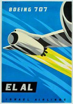 Boeing 707 - El Al by Paul Kor (Kornowski) 1960: Can't wait for Seattle Rep's Boeing Boeing!