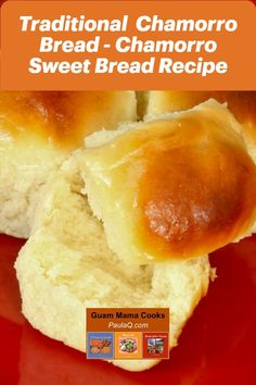Guam Chamorro sweet bread recipe has a very distinct aroma and texture. Its yummilicious, especially with a buttery-sugary topping. Guam Recipes, Bread Recipes, Baking Recipes, Dessert Recipes, Portuguese Sweet Bread, Portuguese Recipes, Chamorro Recipes, Chamorro Food, State Foods
