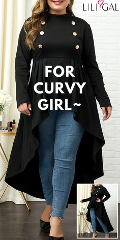 "Liligal plus size tops women's curvy fall fashion ""Curvy is another way of beauty"". Liligal plus size casual fall tops Cute Fashion, Fashion Outfits, Fashion Trends, Fashion Ideas, Fashion Quiz, Fashion Shoes, Men's Fashion, Autumn Fashion Curvy, Fall Outfits"