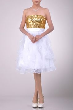 Knee Length Strapless Bateau Cocktail Dress Price : $169.99 Free Shipping!