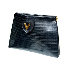 Valentino Textured Leather 'V' Logo Clutch*
