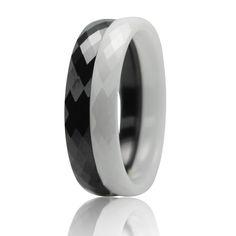 Naturalny Biały/Czarny Ceramiczne Wysokiej Jakości Trend w Modzie Carbon Fiber Mężczyźni Kobiety Para Pierścień