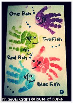 Dr. Seuss handprint crafting.