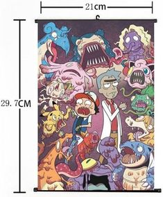 Hot American Anime Cartoon Rick And Morty Whole Home Decor Poster Wall Scroll 08