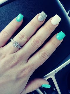 My spring nails!!! Spring square Acrylics teal