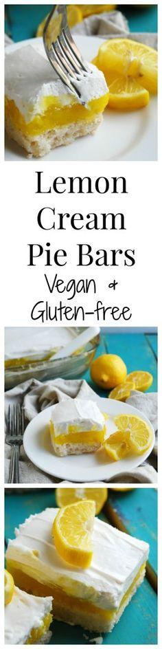 Gluten-free Vegan Lemon Cream Pie Bars (Gluten, dairy, egg, soy, peanut & tree nut free; top-8-free) |gluten-free lemon pie bars| |vegan lemon pie bars| |dairy-free lemon pie bars| |egg-free lemon pie bars| |lemon desserts| |gluten-free lemon dessert| |vegan lemon dessert|