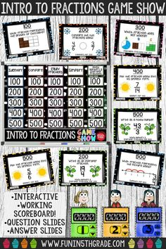 Use this interactive intro to fractions game show to review beginning fractions in a fun way! Great extra practice activity before a test! Super engaging! Perfect for any grade 4 and up who need review activities to refresh fractions before moving onto more difficult concepts! Identify, compare, & determine equivalent fractions, as well as, simplify and change from improper to mixed numbers!