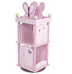 """Butterfly and floral motif in shades of plum & pink with green and ivory accents Revolves for easy access 10"""" and 12"""" shelves hold her favorite storybooks Butterfly bookends Size: Total height: 35½"""" W"""