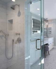 Neutral Cape Cod Style Home with Open Layout - Shower walls, ceiling and bench are Carrara marble slab