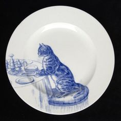 Minton bone china, one of a set of 12 cat plates, blue on white, ca 1880s. Kingston Lacy, Dorset, England.