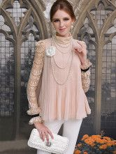 Grace Nude Color Pleated Polyester Lace High Collar Women's Blouse - Milanoo.com