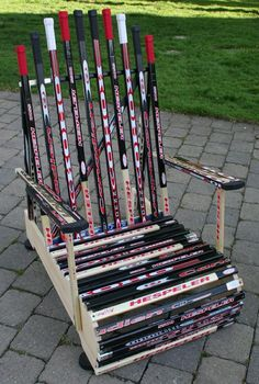For the Hockey Fan, Custom Furniture and Accessories Made from Reclaimed Sticks, Pucks, and Shirts - Made by CustomMade Lawn Chairs, Outdoor Chairs, Outdoor Furniture, Outdoor Decor, Funky Furniture, Adirondack Chairs, Custom Woodworking, Woodworking Projects, Custom Furniture