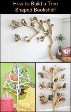 New DIY bookcase, Baumregal plans 41 ideas- Neues DIY Bücherregal plant Baumregal 41 Ideen New DIY bookshelf plans 41 shelf tree ideas, shelf - Diy Bookshelf Plans, Diy Bookshelf Wall, Tree Bookshelf, Unique Bookshelves, Nursery Bookshelf, Tree Shelf, Bookshelves Kids, Bookshelf Design, Diy Shelving