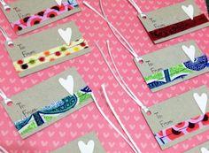 Cartão de papel reciclado com tecido