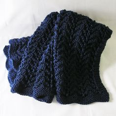 Navy Afghan Lap Cover Dark Blue Baby Blanket by knitwit4ever