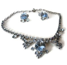 Vintage Blue Rhinestone Necklace And Earring Demi Parure Set by…