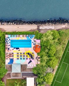 For Roosevelt Island in Manhattan, Proba painted a vivid mural on the deck of a public pool for a project curated by K&CO and Pliskin Architecture. Manhattan Park, Pool Paint, Palm Springs Houses, Roosevelt Island, Purple Plants, Natural Swimming Pools, Swimming Pool Designs, Pool Houses, Art Design