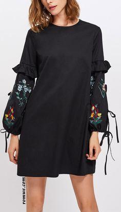 Frill Trim Embroidered Lantern Sleeve Dress Iranian Women Fashion, Womens Fashion, Hijab Stile, Classy Work Outfits, Ankara Gown Styles, Clothing Patterns, Hijab Fashion, Blouses For Women, Designer Dresses