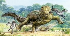 Pristachampsus chasing Hyracotherium by John Sibbick