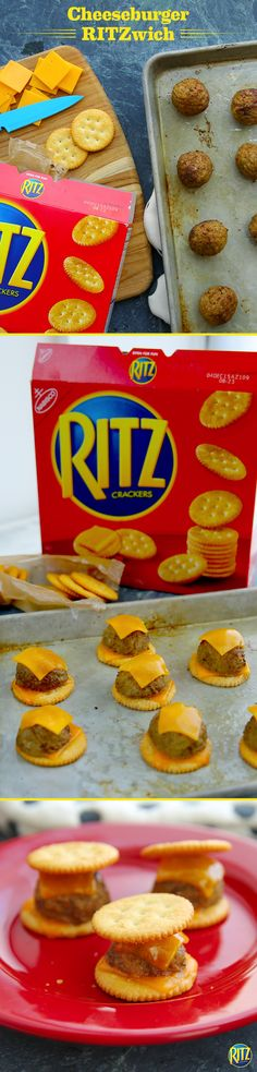 These mini RITZ cracker Cheeseburger Bites are a tasty treat to make with leftovers from dinner. Cook meatballs in a skillet or crockpot until heated through. Top one RITZ cracker with a slice of cheddar cheese and another with half a meatball. Bake until cheese melts and sandwich the two. Yum!