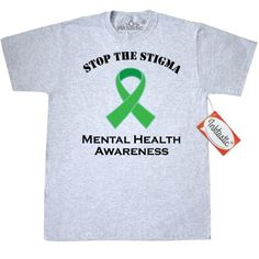 3ec82f3a856 Inktastic Mental Illness Stop The Stigma T-Shirt Health Awareness Ribbon  Green Support Walk Event Month Bipolar Disorder Depression Lime Mens Adult  Clothing ...