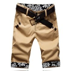 Summer Style Slimming Print Purfled Straight Leg Cotton Men's Cropped Pants, KHAKI, 33 in Pants | DressLily.com