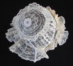 Maria Niforos - Fine Antique Lace, Linens & Textiles : Antique Christening Gowns & Children's Items # CI-113 Circa 19th C., Fine Valencienne Lace Christening Bonnet