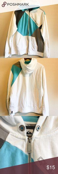 Quicksilver Hoodie Sweatshirt Quicksilver Sweatshirt Hoodie  Full Zip / 2 Hand Pockets  Long Sleeve  Material: 80% cotton 20% polyester  Washed - missing hoodie drawstring   -H- Quiksilver Sweaters Zip Up
