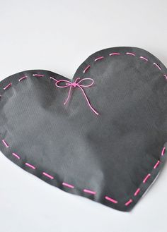 Heart gift wrap--I've done this before--even using a bigger stitch sometimes.  It's very easy--and really cute.