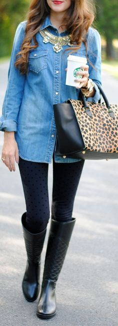 chambray top // Clare V leopard clutch // J.Crew Factory pants // Tory Burch riding boots
