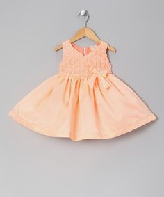 Take a look at this Peach Rosette Bow Dress - Infant & Toddler by the Silly Sissy on #zulily today!