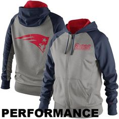 Nike New England Patriots Ladies Die-Hard Full Zip Performance Hoodie -  Ash Navy Blue 5d03a47a00c