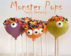 Monster Pops - cute and simple cake pops perfect for Halloween or a Monster Bash…