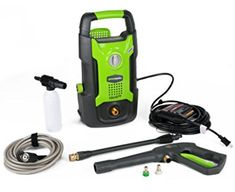 GreenWorks 13 amp 1500 PSI GPM Electric Pressure Washer The GreenWorks 13 amp portable, lightweight and compact design. Water pump up to gallons per minute of water flow. 13 amp, powerful universal motor provides watts of pow Lawn Equipment, Outdoor Power Equipment, Best Pressure Washer, Pressure Washers, Car Wash Soap, Cordless Tools, Car Detailing, Car Ins, Cleaning