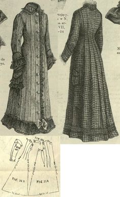 Tygodnik Mód 1877.: Long overdress with altered trimmings and fabrics (suitable for negligées or wrappers from moll, crépe lisse or for travelling dresses from wash fabrics or wool); Fig. 35. front part, 36. back part, 37. and 38. sleeve, 39. collar.