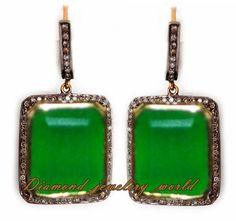 Estate Victorian 3.17ct Rose Cut Diamond Sterling Silver Jewelry Emerald Earring #DiamondJeweleryWorld #Earring