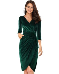 Womens V Neck Sleeves Velvet Bodycon Pencil Wrap Dress Sexy Cocktail Wedding Party with Pockets - Green Without Pockets XX-Large Most Beautiful Dresses, Elegant Dresses, Pretty Dresses, Sexy Dresses, Dress Outfits, Evening Dresses, Fashion Dresses, Short Sleeve Dresses, Ladies Dresses