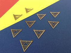 Raw Brass Triangles, Triangular V-Shaped Charms, Geometric Jewelry, 3 Pc ,Laser Cut Charms, Exclusive at Goldie Supplies, Minimalist, Shapes by GoldieSupplies on Etsy https://www.etsy.com/listing/202981344/raw-brass-triangles-triangular-v-shaped