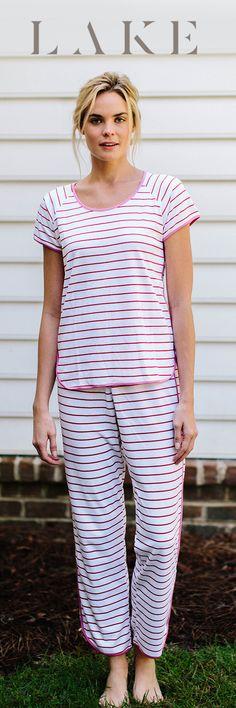 e24a1dad4b LAKE pima cotton pajamas. Short long set. Berry stripe. Elle Fashion, Womens