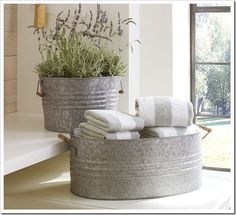 galvanized inspiration for my gray and yellow bathroom