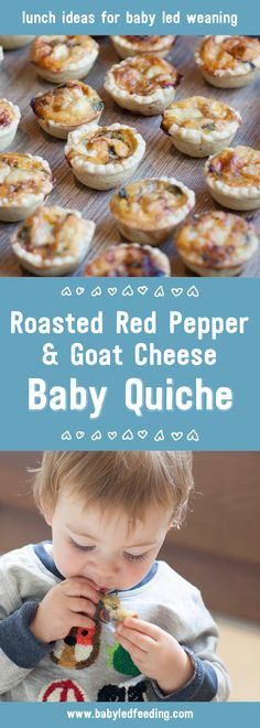 This healthy Roasted Red Pepper, Spinach and Goat Cheese Baby Quiche is very savoury and delicious. It's small and soft especially for blw.